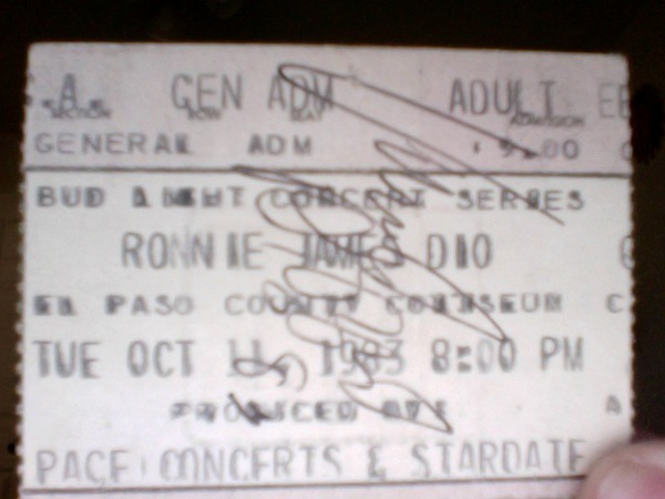 Ronnie James Dio Ticket signed by Vinny Appice